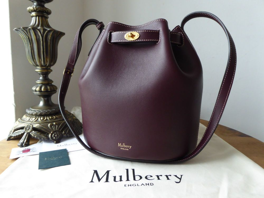 Mulberry Abbey Small Bucket Bag in Burgundy Silky Calf Leather