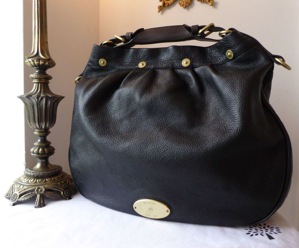 Mulberry Large Mitzy Hobo in Black Pebbled Leather