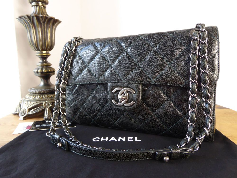 Chanel Crave Medium Flap in Dark Marine Green Crumpled Vernice Calfskin wit