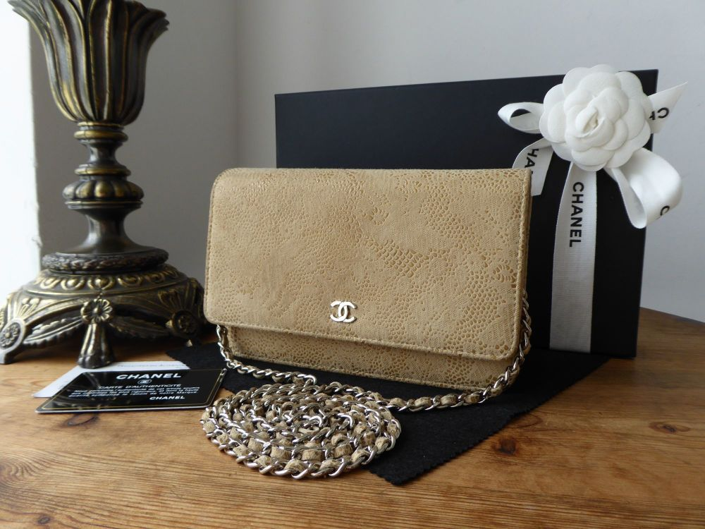 Chanel Wallet on Chain WoC in Beige Lace Over Suede Leather
