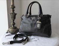 Prada Medium Tote in Nero Soft Calf with Shiny Silver Hardware - SOLD