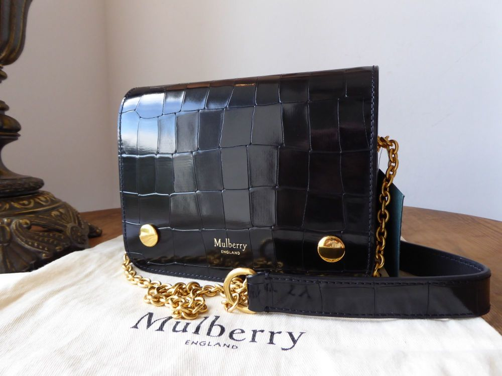Mulberry Small Clifton Satchel in Black Polished Embossed Croc Printed Leat