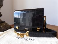 Mulberry Small Clifton Satchel in Black Polished Embossed Croc Printed Leather - New*