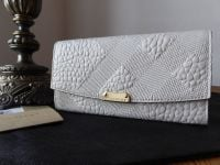 Burberry Porter Continental Purse in Stone White Embossed Check Shrunken Calf - New