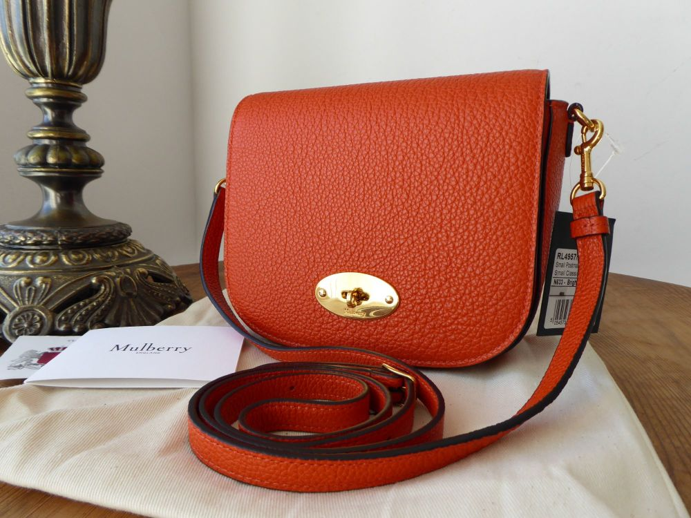 Mulberry Small Darley Postmans Lock Satchel in Bright Orange Small Classic