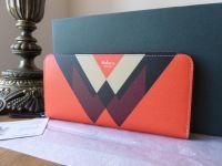 Mulberry M Print Long Continental Zip Around Purse in Black, Orange, Chalk & Crimson - New