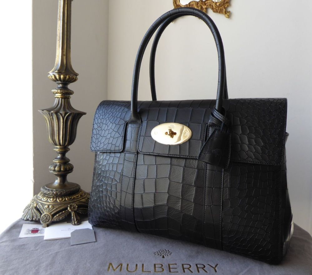 Mulberry Classic Heritage Bayswater in Black Deep Embossed Croc Printed Lea