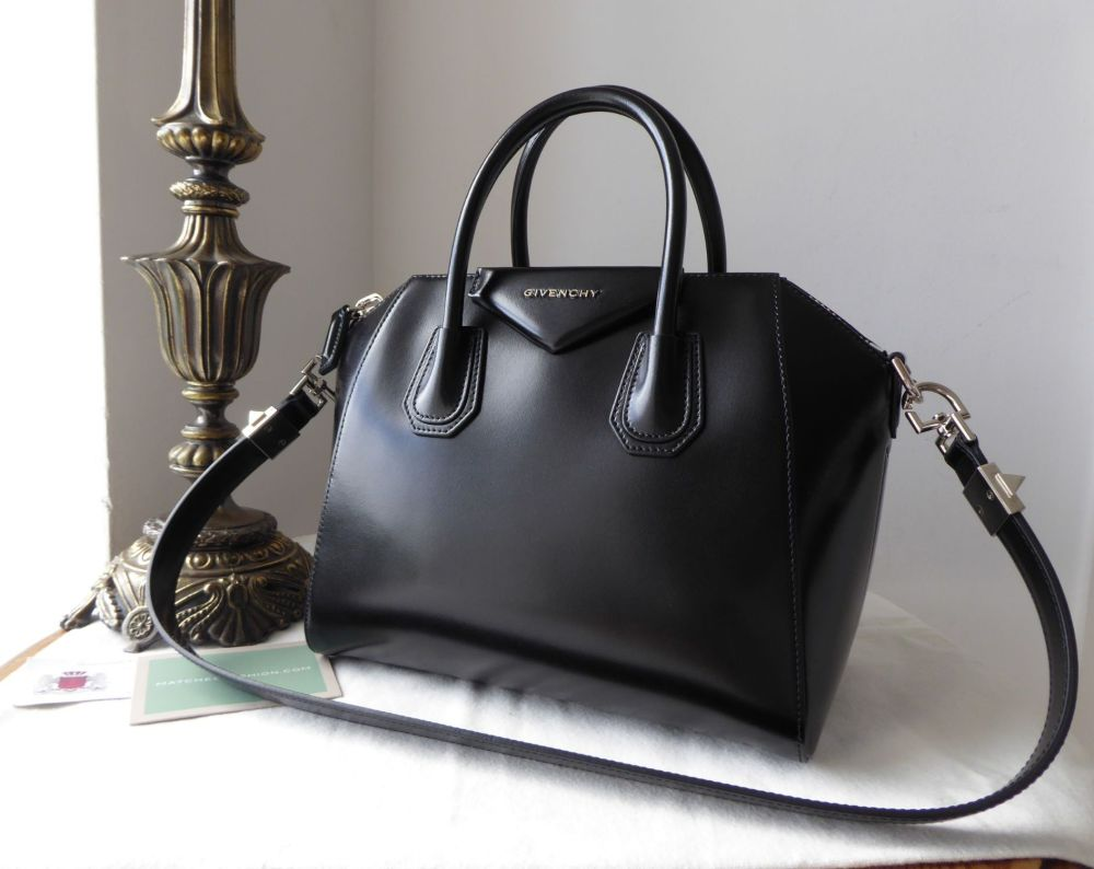 Givenchy Antigona in Smooth Black Calfskin with Shiny Silver Hardware - As