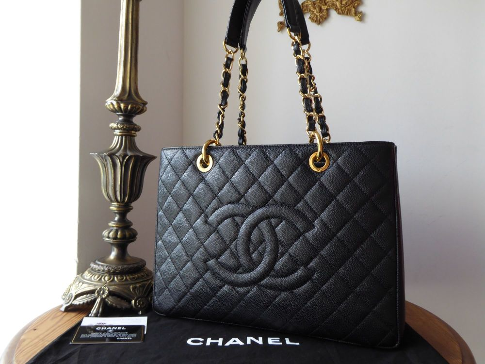 Chanel Grand Shopping Tote GST in Black Caviar with Shiny Gold Hardware