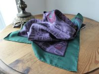 Burberry Prorsum 'London Roads' Printed Square Scarf in Dark Plum Silk - New*