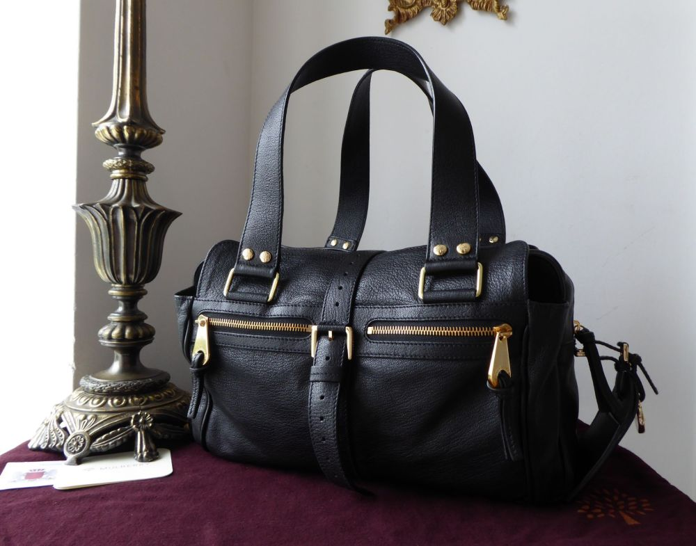Mulberry Medium Mabel in Black Soft Goatskin Leather with Gold Hardware