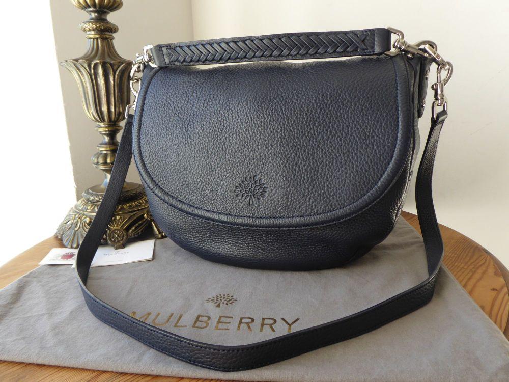 Mulberry Effie Satchel in Midnight Blue Spongy Pebbled Leather & Felt Liner
