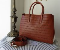 Anya Hindmarch Edbury Perforated Tote in Cognac Capra Goatskin - New*