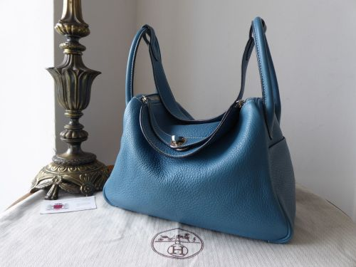 Hermes Lindy 30 in Blue Jean Taurillon Clemence Leather with Palladium Hard
