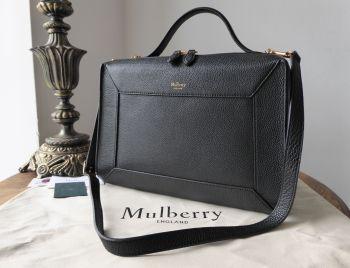 Mulberry Hopton in Black Small Classic Grain  - New