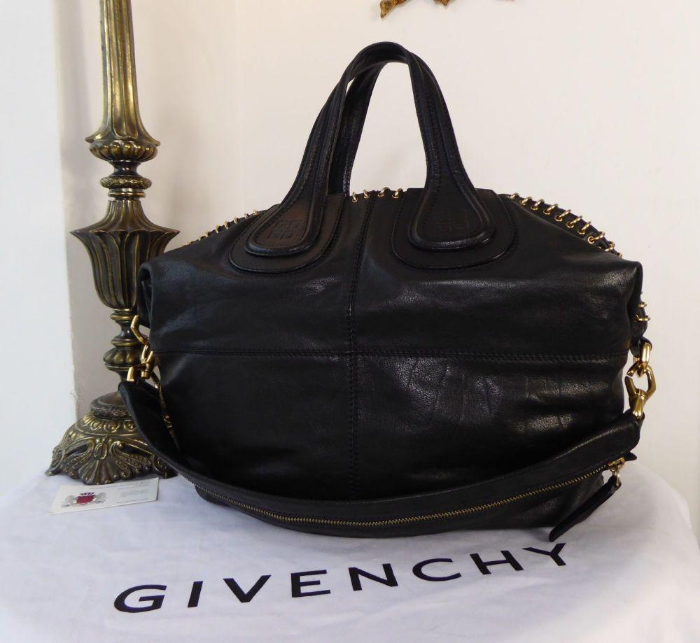 Givenchy Ring Embellished Medium Nightingale Tote in Black Glazed Goatskin