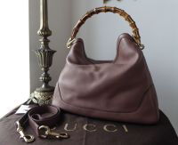 Gucci Diana Bamboo Handle Large Shoulder Hobo in Pink Tan Calfskin