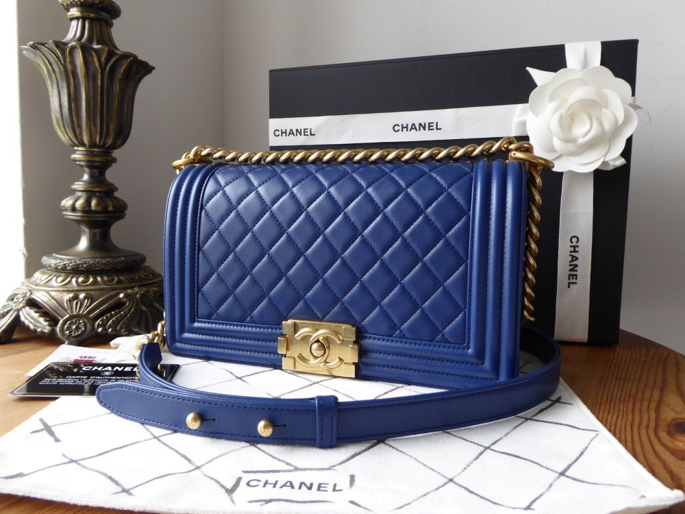 Chanel Quilted Boy Old Medium in Royal Blue Calfskin with Brushed Gold Hard