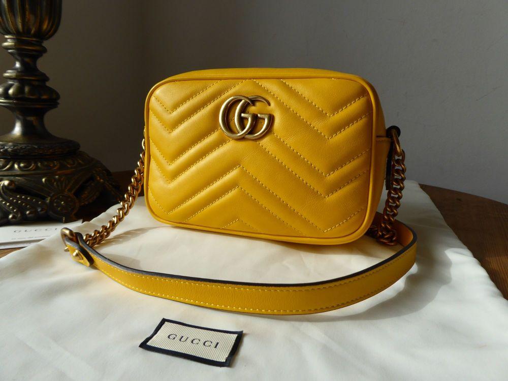 Gucci GG Marmont Matelassé Camera Bag in Marigold Yellow Calfskin