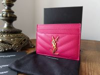 YSL Saint Laurent Credit Card Slip Wallet in Bubblegum Pink Grain De Poudre Textured Matelasse - As New
