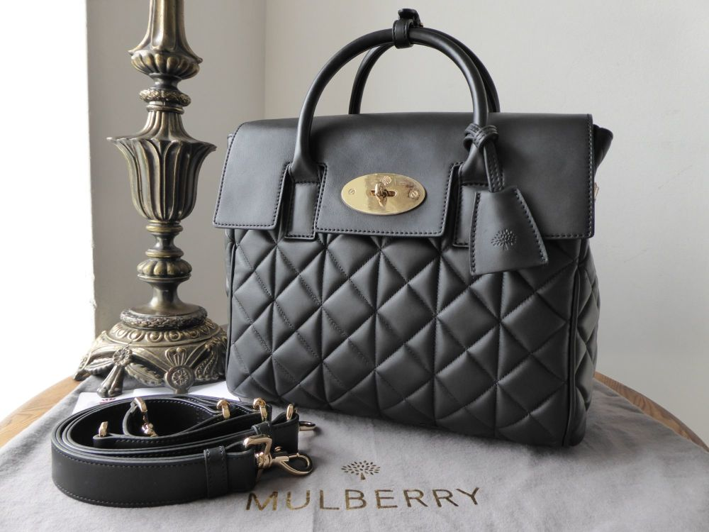 Mulberry Cara Delevingne Medium Backpack Bag in Black Quilted Nappa