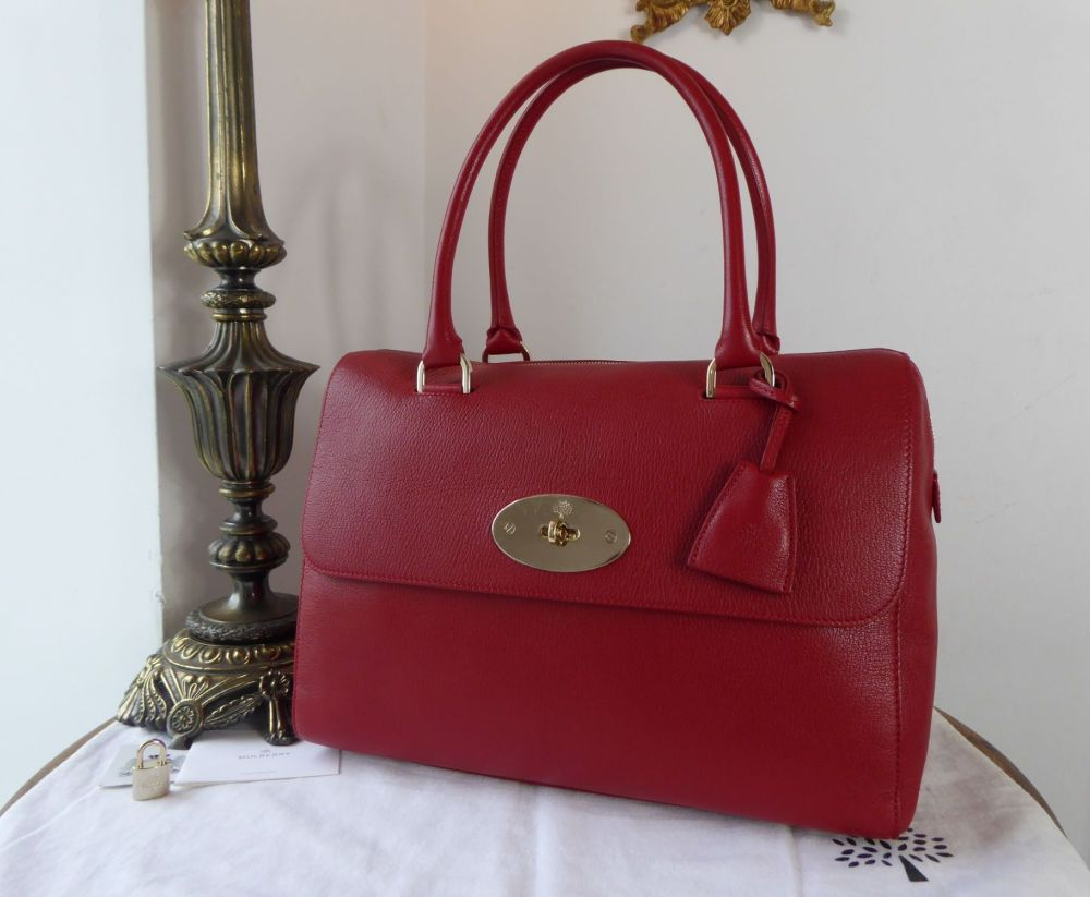 Mulberry Regular Del Rey in Poppy Red Glossy Goat Leather