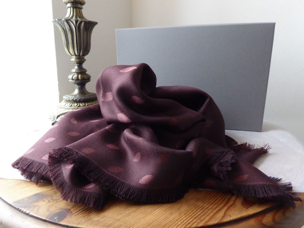 Mulberry All Over Leaf Jacquard Weave Shawl Scarf Wrap in Oxblood Silk Wool