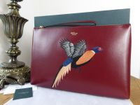 Mulberry Pheasant Embroidered Large Zip Pouch Wristlet in Crimson Smooth Calf - SOLD