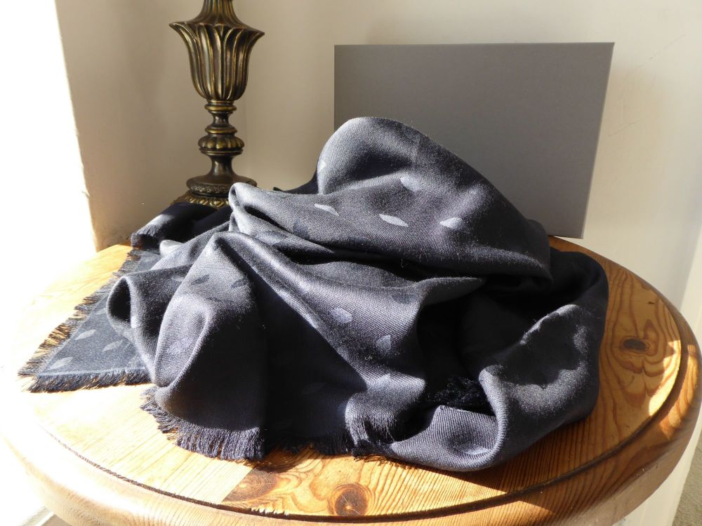 Mulberry All Over Leaf Jacquard Weave Shawl Scarf Wrap in Navy Silk Wool Mi