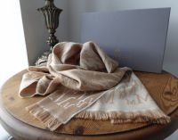 Mulberry M Monogram Jacquard Knit Scarf in Soft Camel and Cream 100% Wool