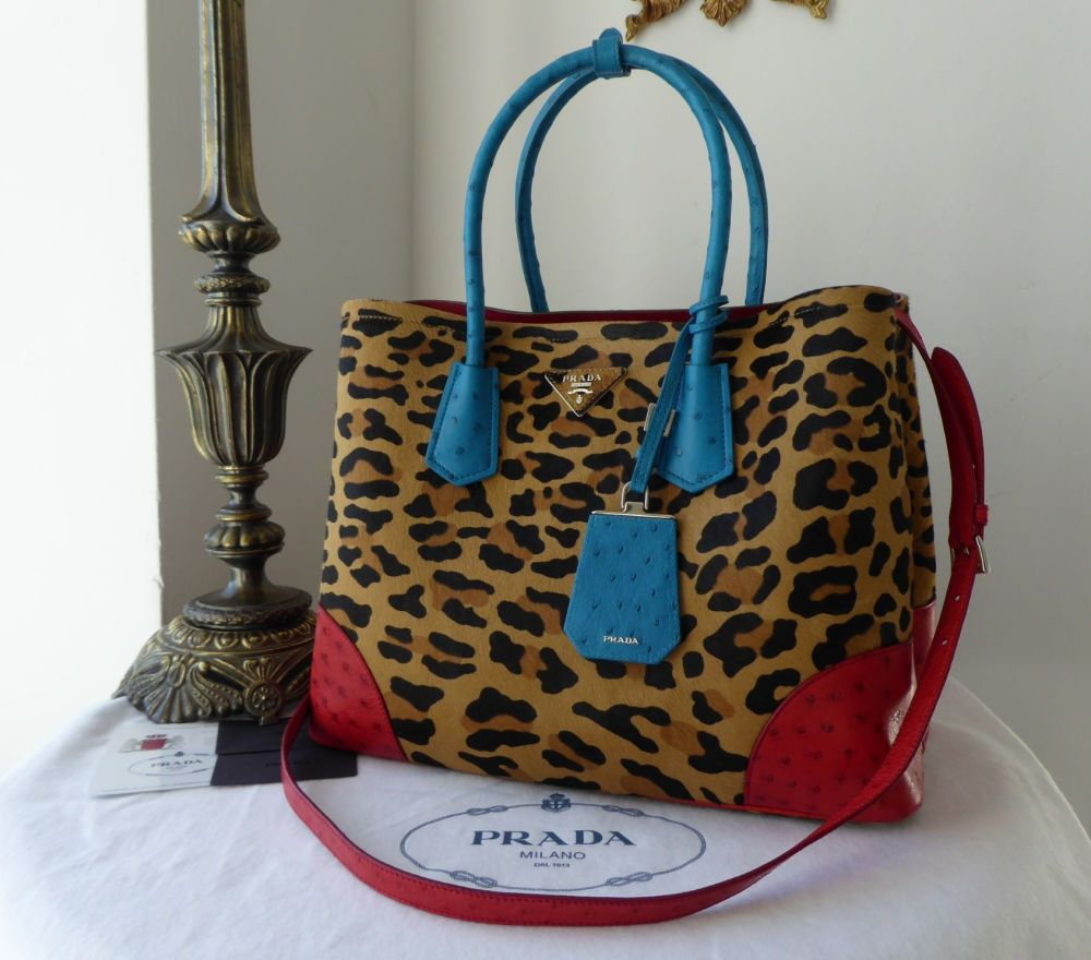 Prada Cavallino Struz Leopard Calf Hair Medium Double Tote Leopard Miele Vo