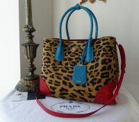 Prada Cavallino Struz Leopard Calf Hair Medium Double Tote Leopard Miele Voyage - New*