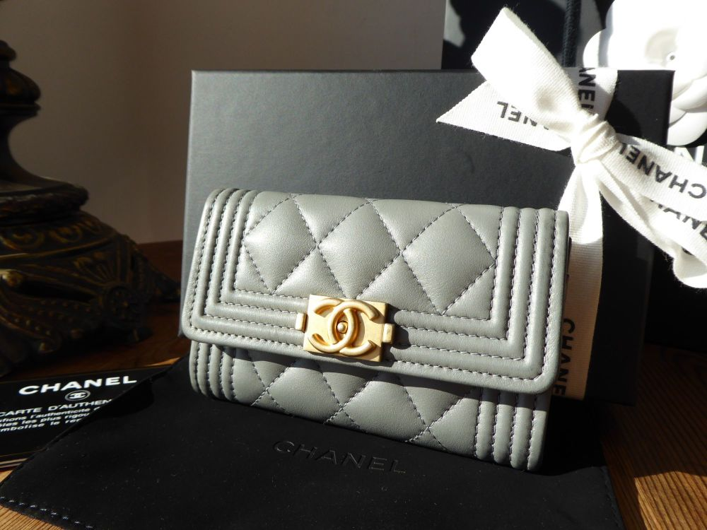 Chanel Boy Small Card Purse in Smooth Grey Calfskin with Antiqued Gold Hard