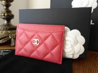 Chanel Card Slip Case in Peony Pink Caviar with Shiny Silver Hardware