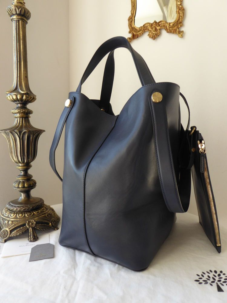 Mulbery Large Kite Tote and Zip Pouch in Midnight Blue Flat Calf Leather