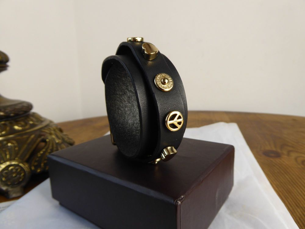 Mulberry Peace & Love Wrap Bracelet in Black Saddle Leather with Gold Hardw