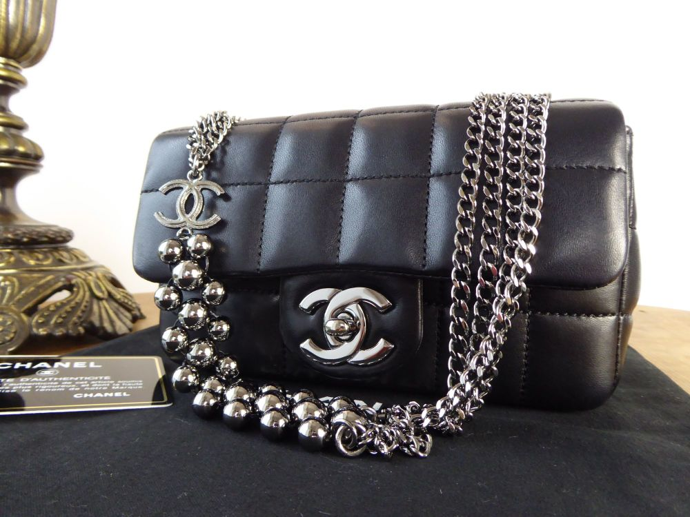 Chanel Limited Edition Mini Flap in Black Lambskin with Shiny Dark Silver H