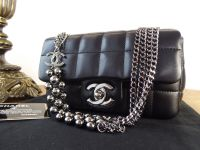 Chanel Limited Edition Mini Flap in Black Lambskin with Shiny Dark Silver Hardware