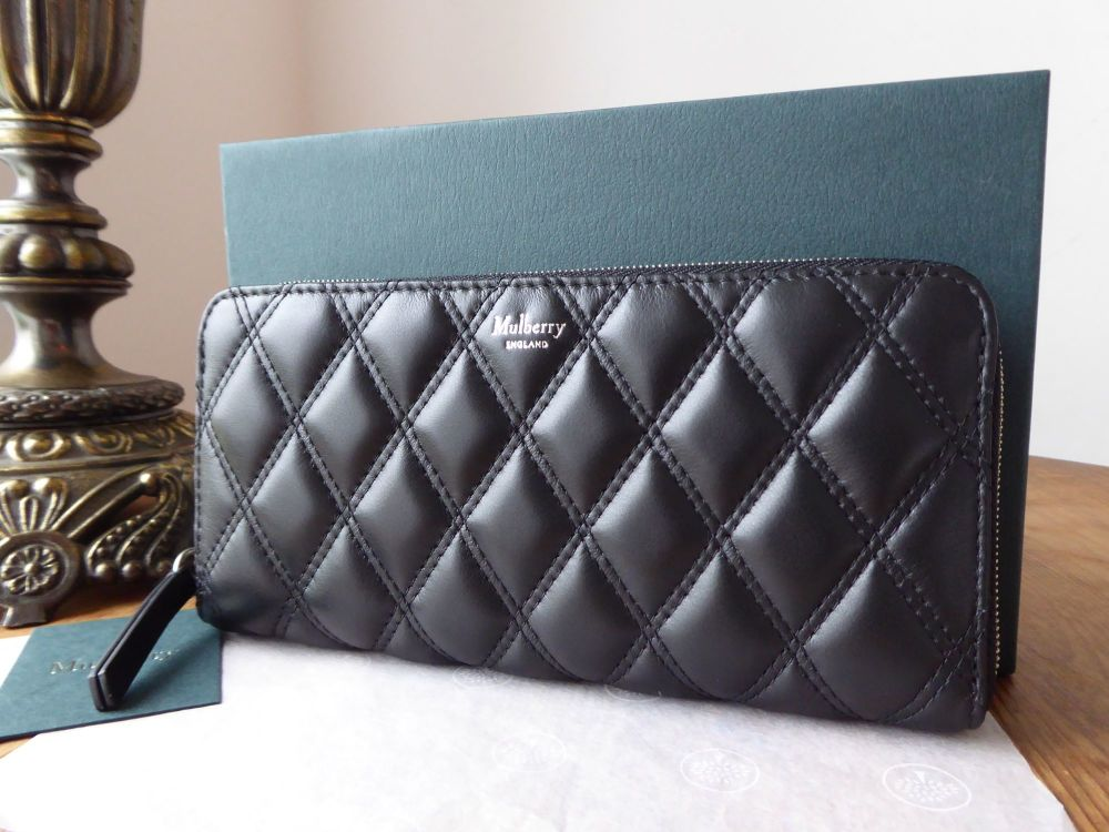 Mulberry 8 Card Zip Around Wallet Continental Purse in Black Quilted Smooth