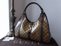 Gucci Joy Bardot Shoulder Hobo in Ebony Beige Crystal GG Monogram with Ebene Leather Trims