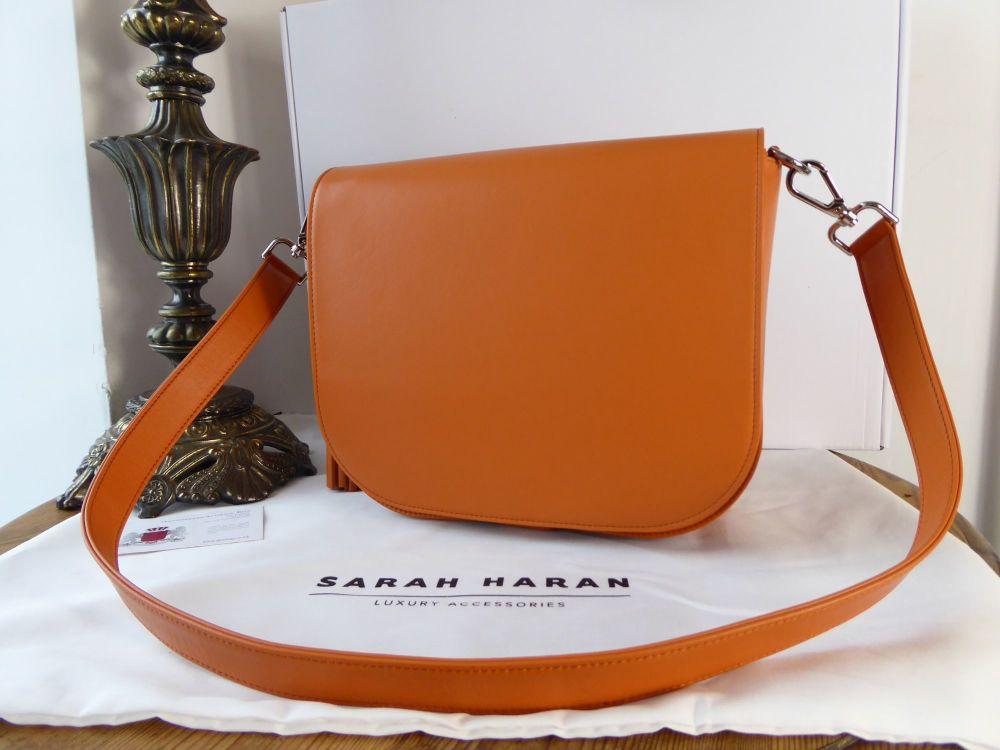 Sarah Haran Iris Saddle Bag in Smooth Orange Calfskin with Silver Hardware