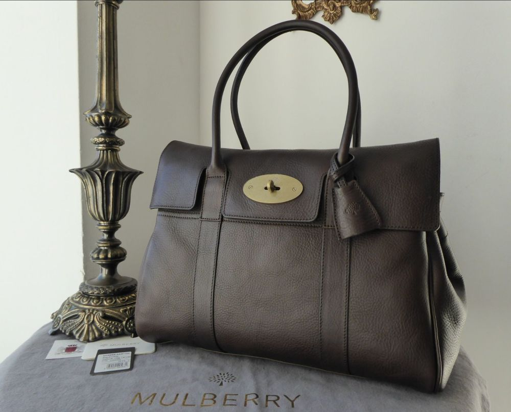Mulberry Classic Heritage Bayswater in Chocolate Natural Vegetable Tanned L
