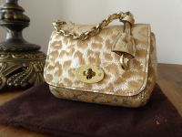 Mulberry Shrunken Lily Oversized Bag Charm in Reverse Gold Glitter Leopard Print - As New