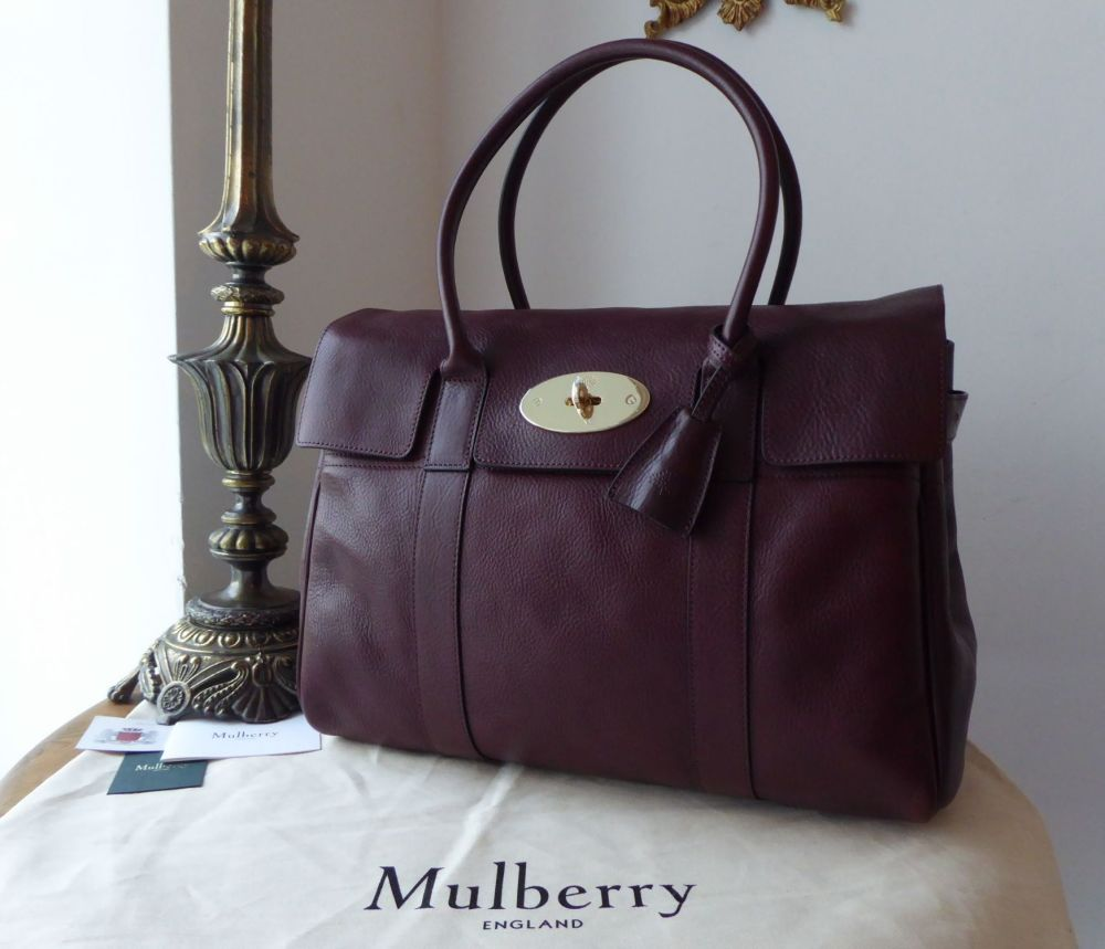 Mulberry Classic Heritage Bayswater in Oxblood Natural Leather with Shiny G