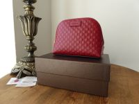 Gucci Cosmetic Zip Pouch in Dark Red Micro Guccissima Leather - New*