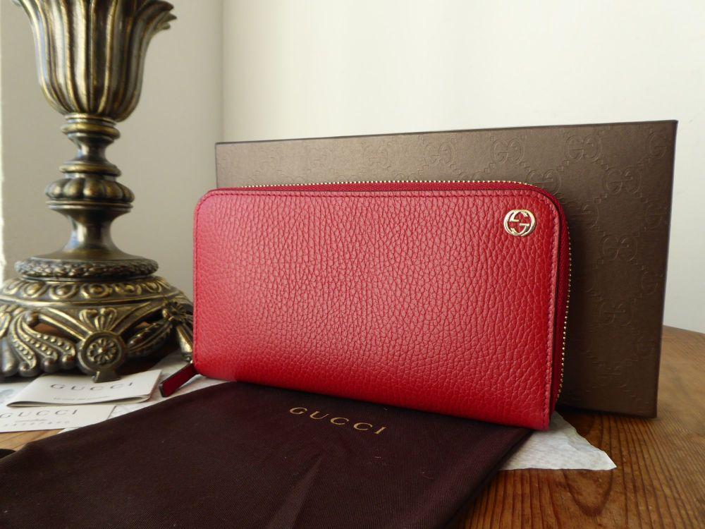 Gucci Continental Zip Around Purse Wallet in Red Calfskin - New