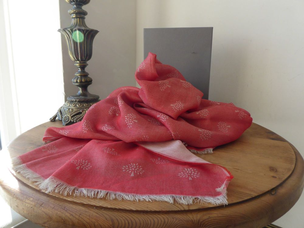 Mulberry Tamara Superfine Cotton Scarf in Tomato Red - As New