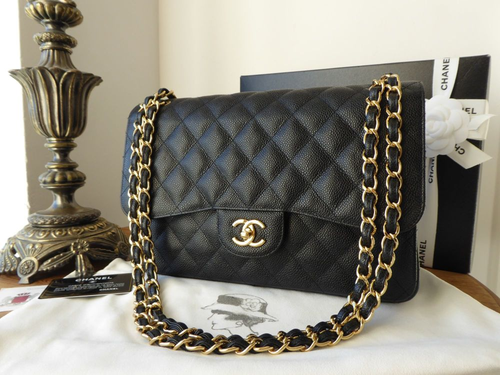 Chanel Timeless Classic 2.55 Double Jumbo Flap in Black Caviar with Gold Ha