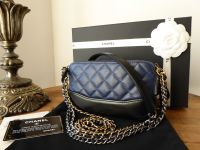 Chanel Mini Gabrielle Twin Zipped Pochette Shoulder Messenger Clutch in Bicolore Navy and Black Calfskin