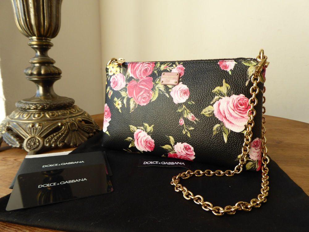 Dolce & Gabbana 'Dark Florals' Rose Print Pochette Wristlet - As New